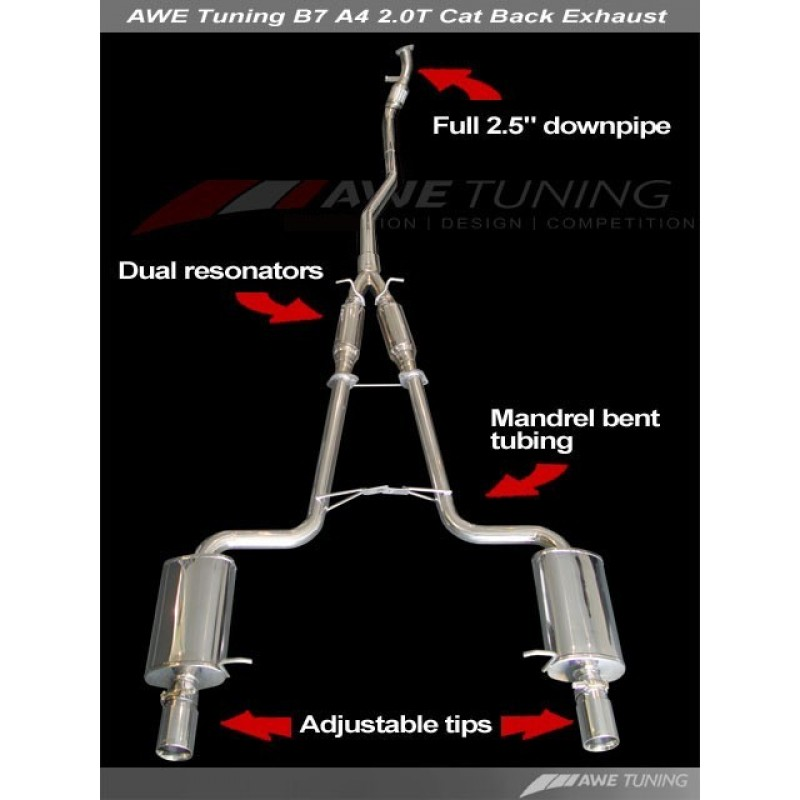 Awe Tuning B7 A4 20t Performance Exhaust Quad Tip: Audi A4 B7 Quattro Exhaust At Woreks.co